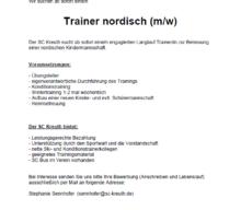 Stellenanzeige: Trainer nordisch
